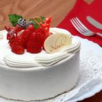 White cake with strawberries wallpaper