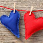 Heart, thread, red, clothespins, fabric, blue