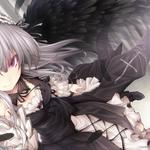 Smiling girl, angel, feathers, anime wallpaper