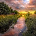 Clouds, reflection, germany, sunset, summer, field, trees, greenery, nature, river, landscape, grass