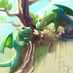 Dragons, art, young wallpaper