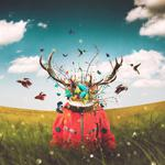 Deer, imagination, art, astronaut, horns, surrealism