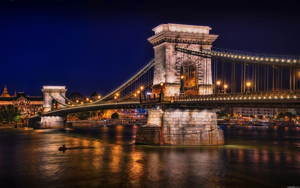 Bridge, budapest, lights