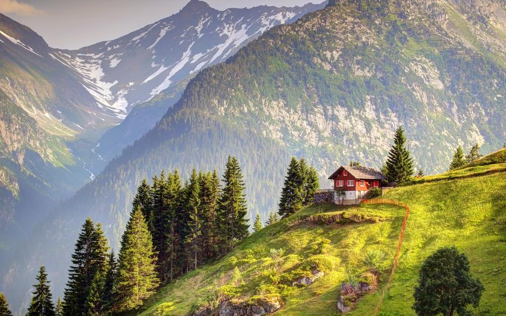 Switzerland, alps, small house, woods, mountains, landscape wallpaper