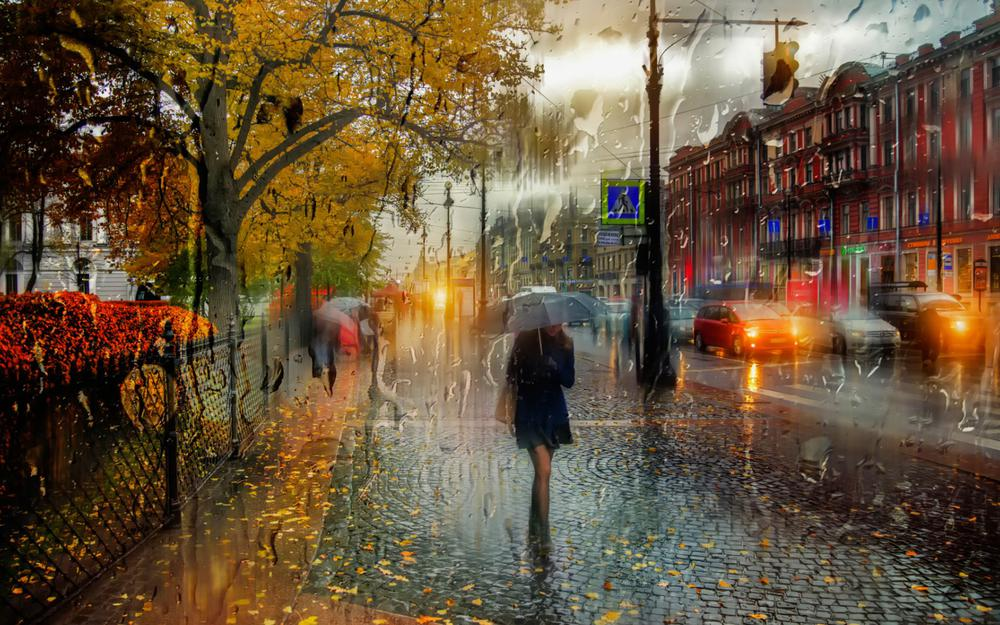 St. petersburg, october, rainy, passersby, beautifully painted landscape desktop wallpaper