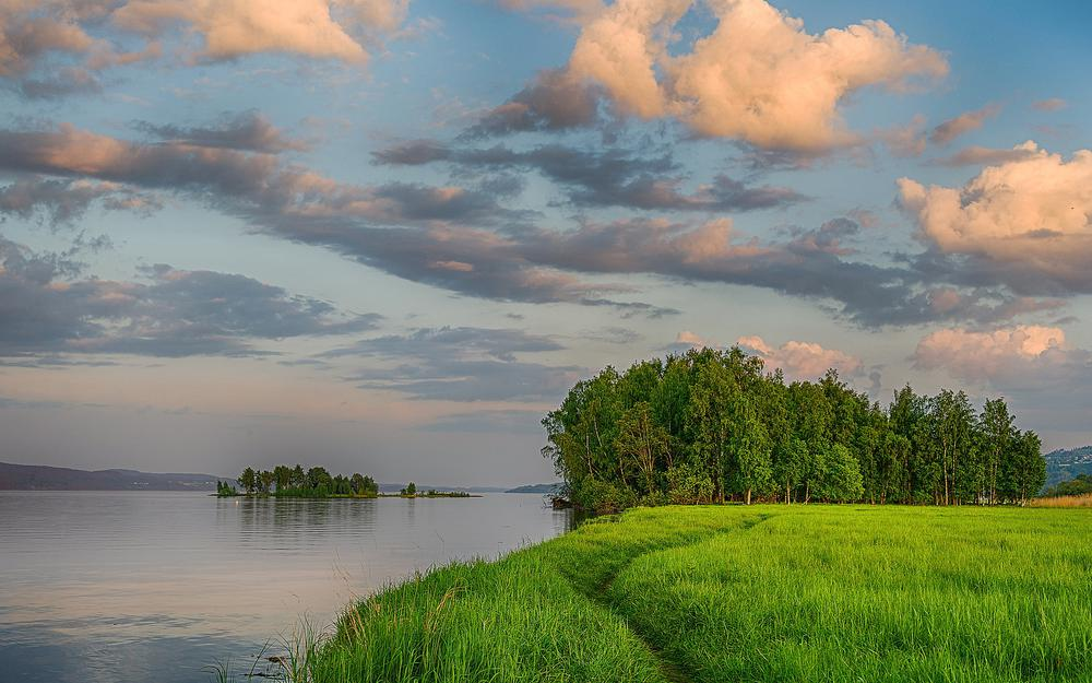 Path, clouds, summer, islet