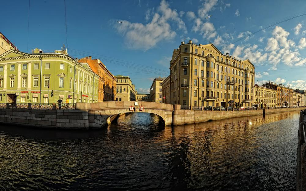 St. petersburg, embankment, bridge, building