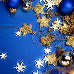 Blue, new year, stars, decorations, snowflakes