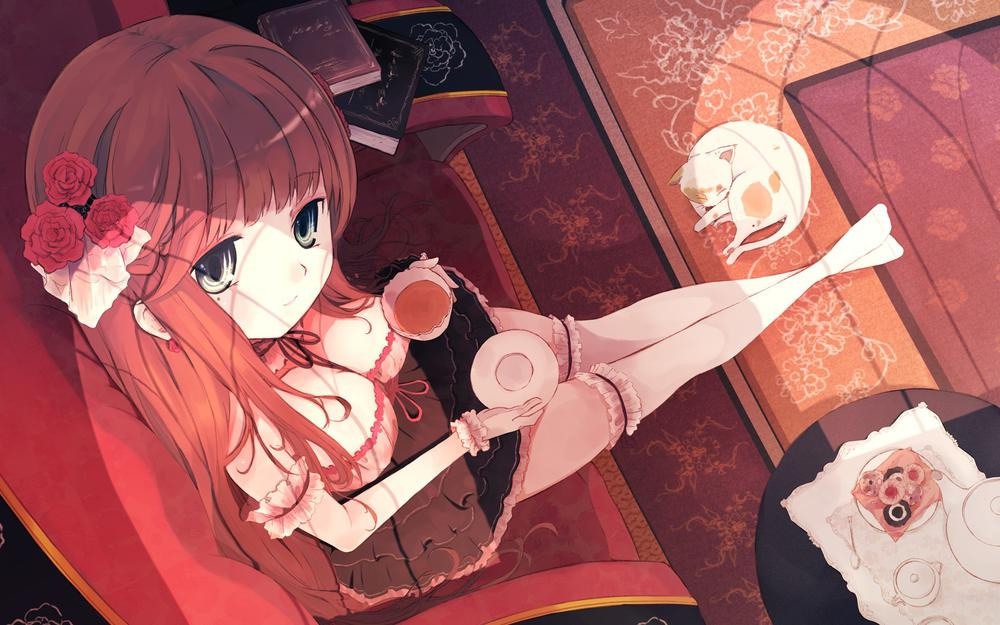 Cute little girl, cute, cat, night pictures, anime wallpapers