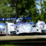Blue, bolide, traffic, sports, front view, track, arx-01, acura, white, trees wallpaper