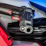 Pistol, holster, cartridges, close-up