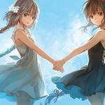 Vocaloid, sisters, holding hands, hatsune family, anime sisters wallpaper