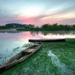 Lake, summer, dawn, biebrza national park, morning, boats, poland