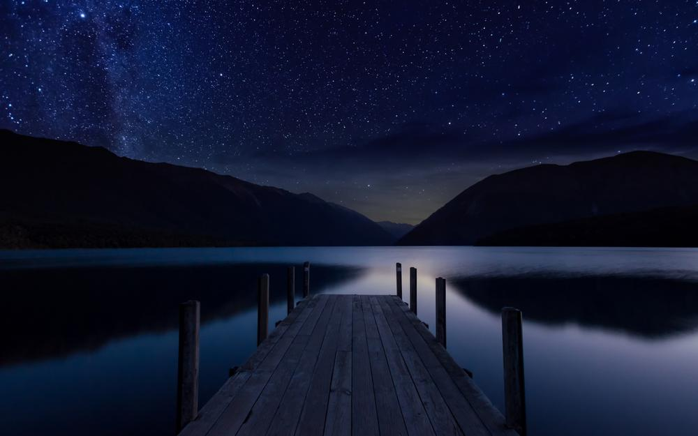 Night, sky, stars, lake, pier, tranquil, landscape desktop wallpaper
