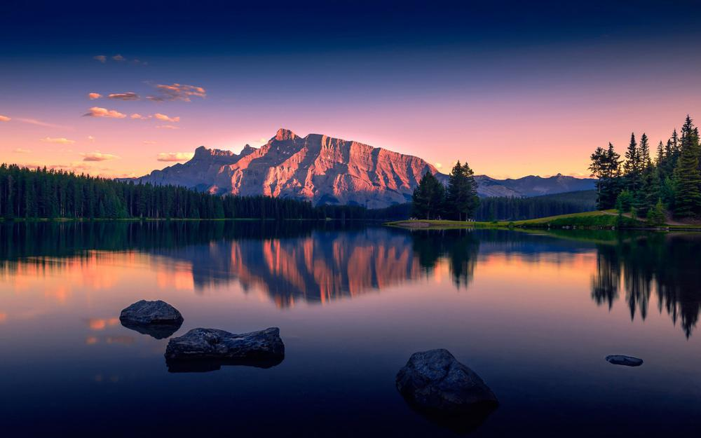 Lake, tranquil, lake, mountains, woods, sky, clouds, natural beauty wallpaper