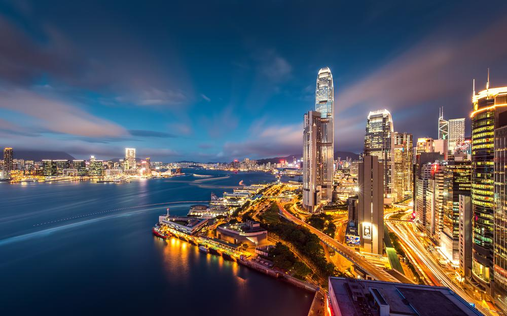Hong kong, sky, bay, evening, lights, metropolis, skyscrapers, buildings