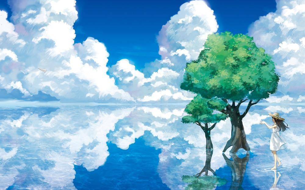 Summer, water, trees, sky, clouds, girl, hat, anime wallpaper