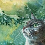 Winter, branch, cat, painting, snow, paint wallpaper
