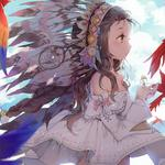 Girl, parrot, feathers, sky, nice anime wallpaper