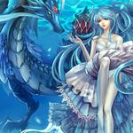 Girl, dragon, elf, sea, fish, desktop wallpaper