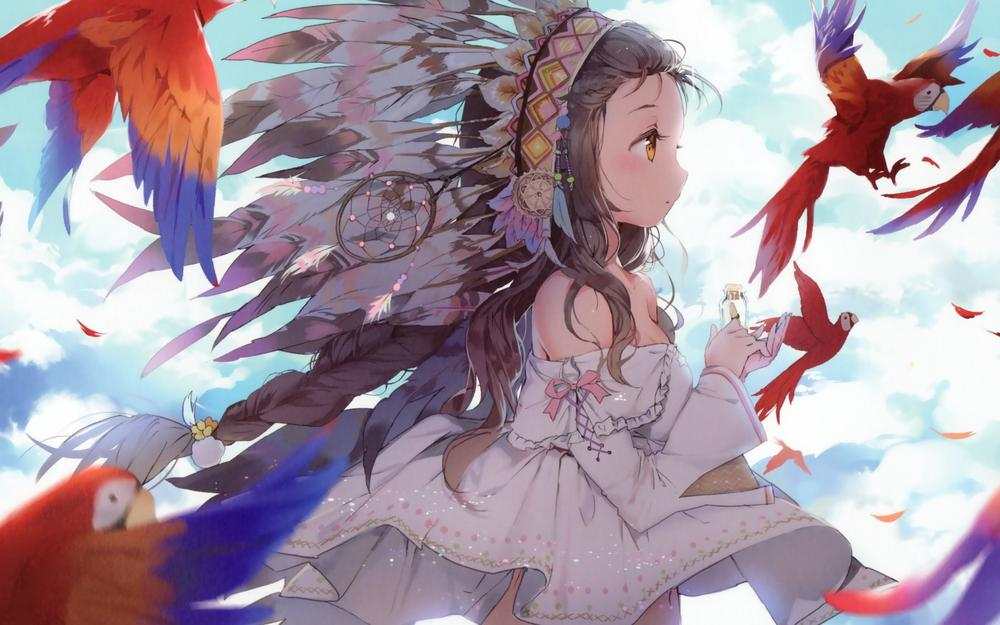 Anmi, girl, parrot, feathers, sky pictures, anime theme wallpapers