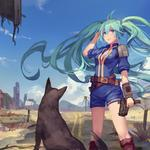 Vocaloid, hatsune miku, girl, puppy, good friend, anime wallpaper