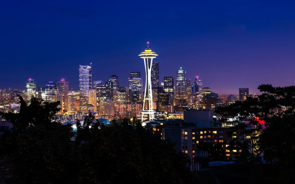 Beauty, night, building, seattle, city lights