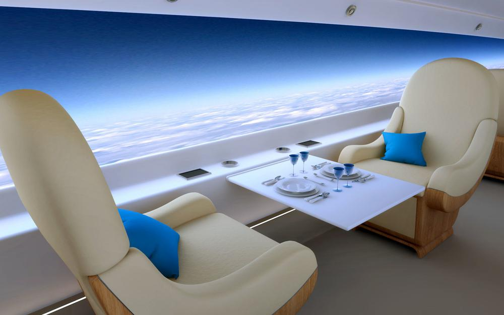 Airplane, future, high altitude, tables and chairs, flying pictures, aviation, landscape desktop wallpaper