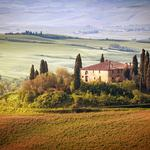 Countryside, house, sky, trees, landscape, summer, italy, tuscany