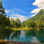 Nature, mountains, woods, lake, trees, clouds, landscape desktop wallpaper