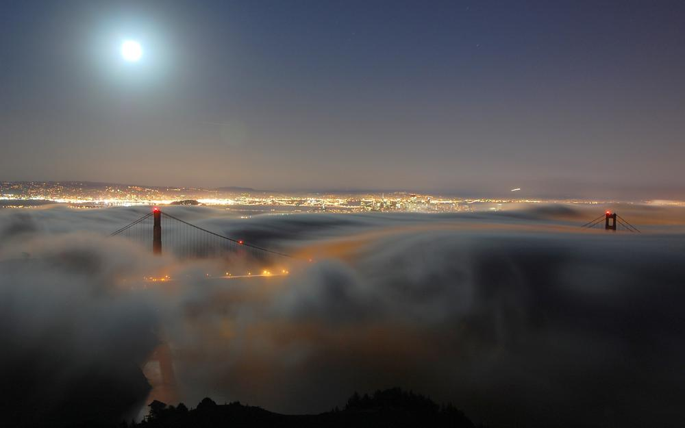 Lights, city, fog, night