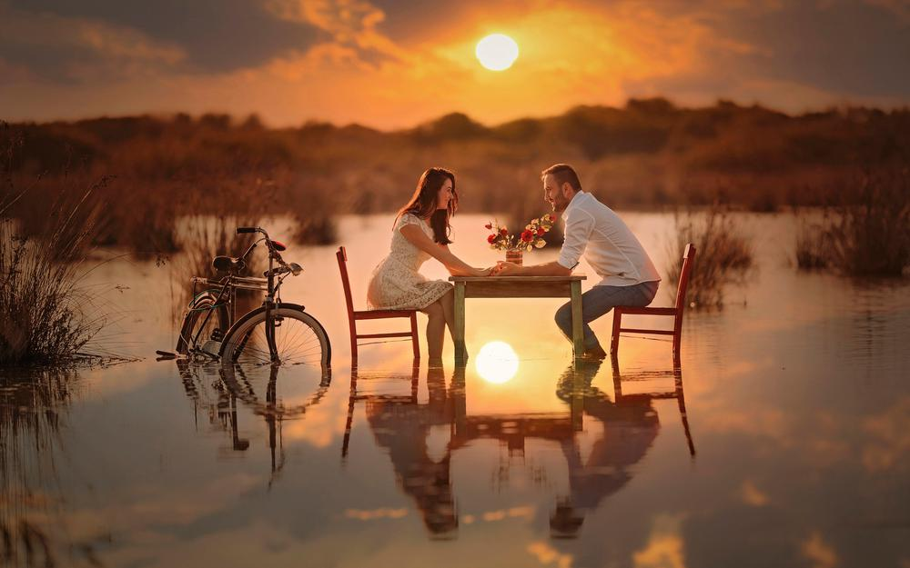 Lovers, conversation, water, romance, bicycle, couple, sun, table