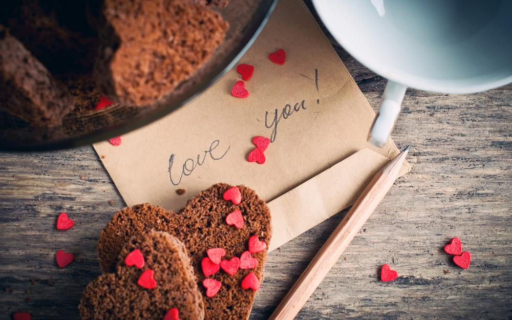 Cookies, pencil, hearts, heart, pastries, envelope, inscription, love you, cup