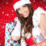 Snow maiden with bags