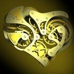 Heart, gears, spring, teeth, rotation, gears