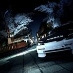 Nissan in city lights