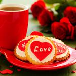 Bouquet, cookies, tea, roses, biscuits, cup, heart, holiday