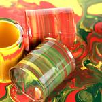Paint, colors, yellow, green, jars, bright, paint