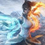 Flames, water, girl, elements