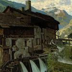 Valley, painting, mountains, building, river, house, picture