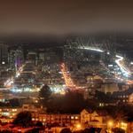 California, fog, construction, night, san francisco