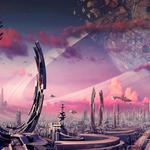Plants, city, rings, transport, spaceships, crater, planets wallpaper