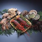 Seafood, oysters, shrimps, greens, lobsters, delicious