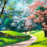 Nature, mountains, woods, grass, road, forest, beautifully painted landscape desktop wallpaper