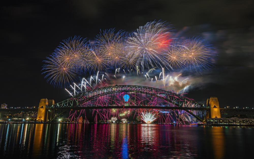 Sydney, city, lights, night, bridge, fireworks, australia, harbor bridge