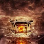 Flying, temple, birds, mountains, fire