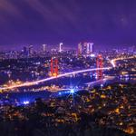 Night city, aerial view, bridge, city lights