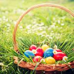 Decoration, basket, happy, easter, eggs, basket, painted eggs, spring, flowers