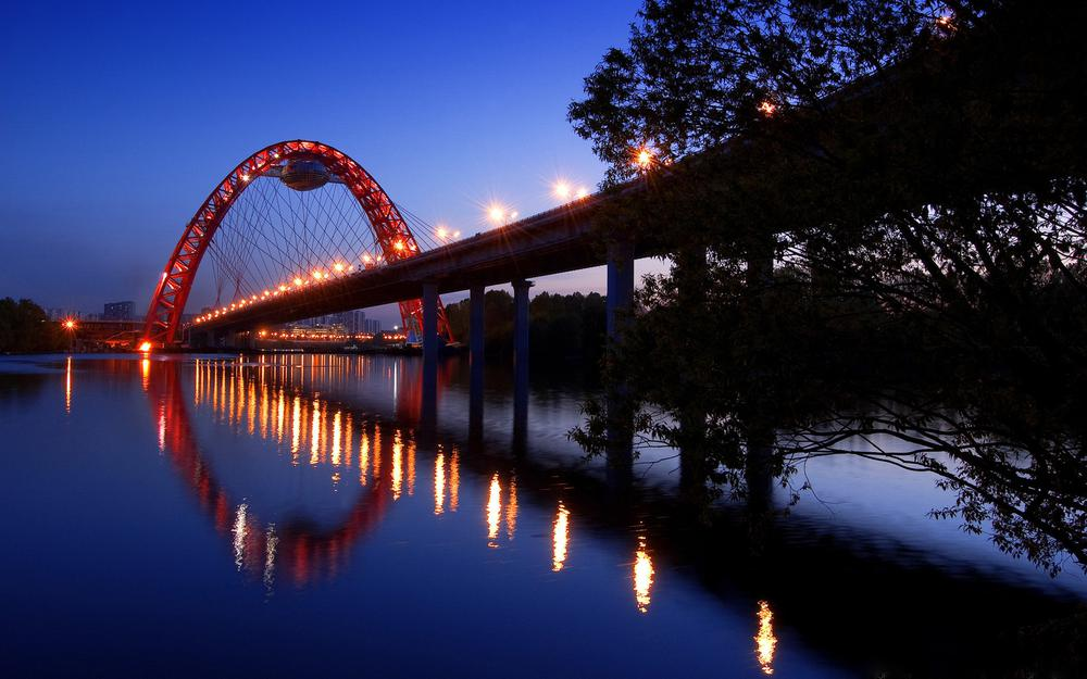 River, landscape, cities, illumination, lights, trees, light, water, road, bridges, night, sky