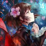 Starry sky, girl, hibiscus flower, petals, butterfly, beautiful fantasy anime wallpaper